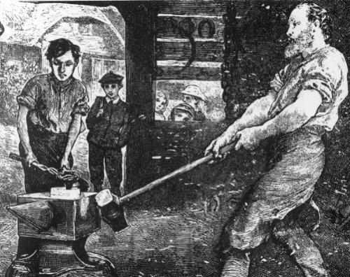 vintage 1800s artisan drawing swinging sledgehammer