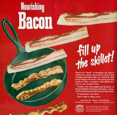 vintage bacon ad advertisement cast iron skillet