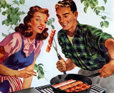 Couple enjoying pan fry bacon illustration.