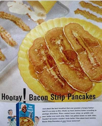 bacon strip pancakes ad advertisement aunt jemima