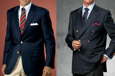 Men wearing blazer catalog in ad advertisement.