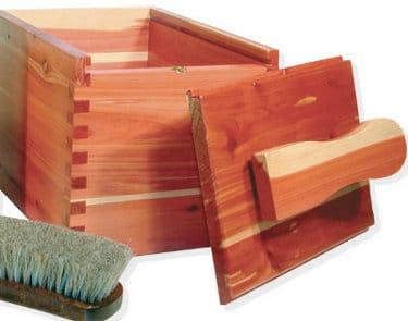 handmade wooden shoe shine box with brush