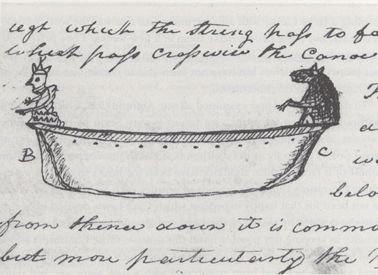 Lewis and Clark drawing of canoe.