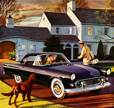 1950s illustration painting car in driveway milkman