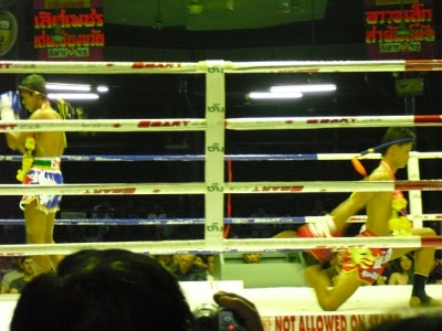 muy thai fight fighters preparing in ring