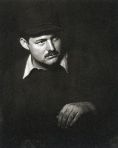 young ernest hemingway portrait mustache black clothes