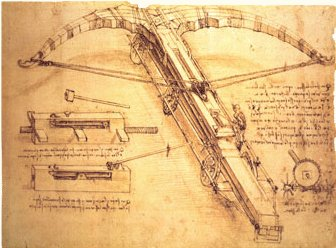 Da Vinci notebook about crossbow weapon.