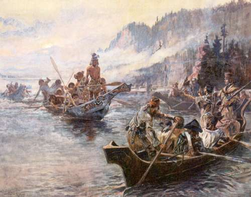 Lewis and Clark canoeing down river illustration.