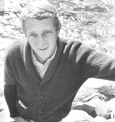steve mcqueen cardigan shawl collar sweater black white