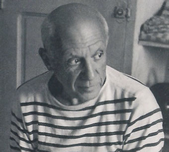 paclo picasso older striped shirt head shot