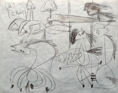 pablo picasso notebook journal sketch guernica