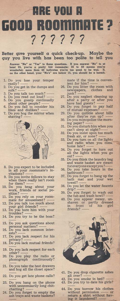 are you a good roommate quiz varsity magazine 1946