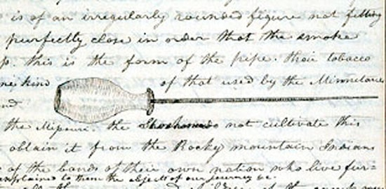 Lewis and Clark notebook about smoking pipe.