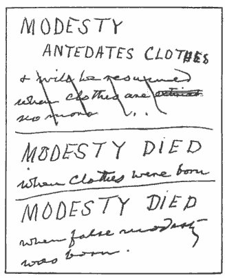 Mark Twain pocket notebook of content modesty.