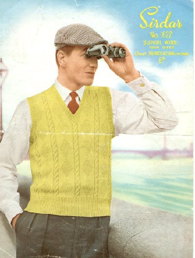 sirdar sweater vest vintage ad advertisement man binoculars