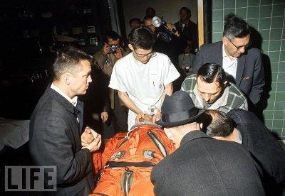 People taking Nick Piantanida to hospital.