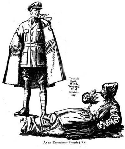 Vintage trench coat emergency bed diagram illustration.