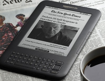 amazon kindle on newspaper new york times story