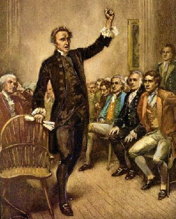 Patrick Henry giving speech to founding fathers.