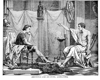 Alexander and Aristotle discussing while sitting.