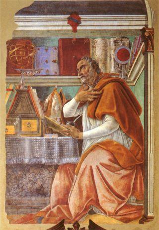 Augustinus wearing robe thinking while reading.