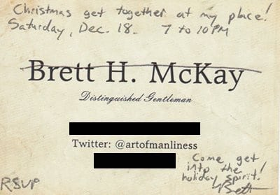 Calling card used for writing.