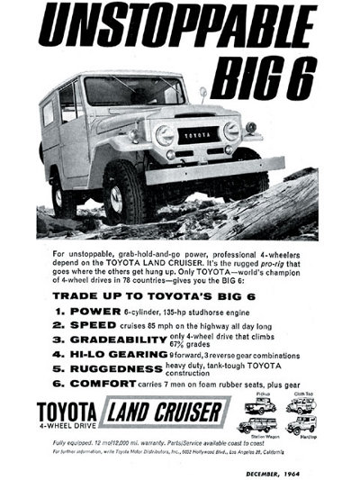 vintage toyota land cruiser ad advertisement off roading