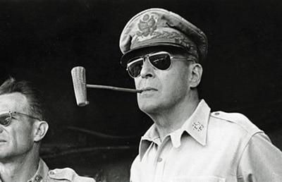 general douglas macarthur aviator sunglasses corn cob pipe