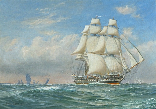 hms unicorn painting open seas full sail