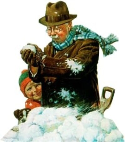 vintage painting grandpa making snowball with grandson