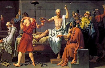 socrates debating philosophy painting with other men