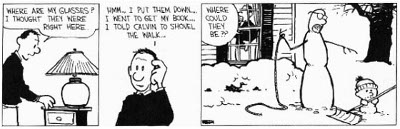 calvin and hobbes snowman comic strip cartoon illustration