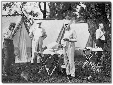 Ford, Bishop William F. Anderson, Firestone, Edison and Harding enjoying camping in the Great Smokies.