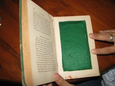 diy homemade book safe glueing felt to compartment