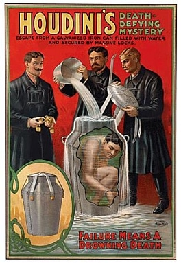 harry houdini poster milk can magic trick
