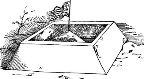 building snow fort american flag illustration drawing
