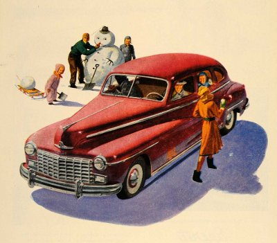 vintage 1950s snowman painting illustration red car