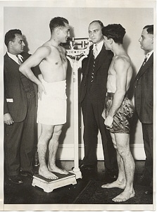 Face-off between two boxers.