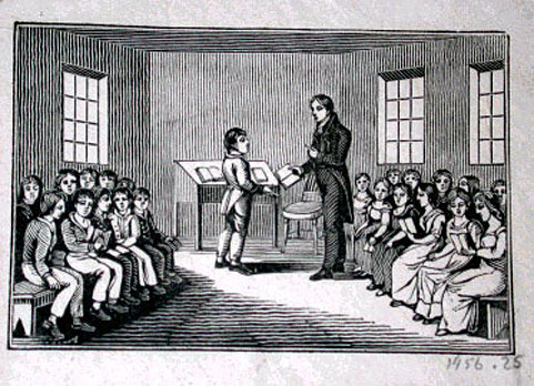 woodcut engraving classroom boys girls separated