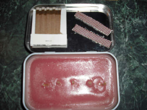 Altoids tin using for emergency candle.