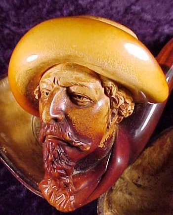 meerschaum pipe buffalo bill cody orange red coloring