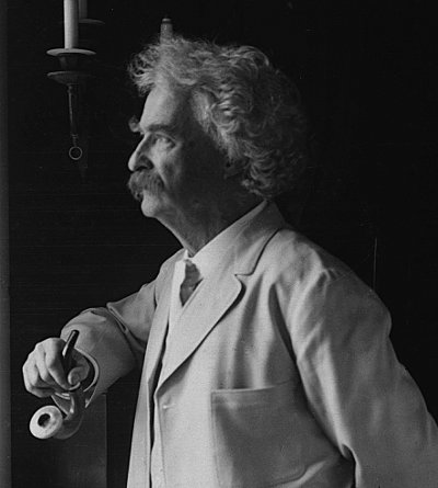 mark twain side portrait calabash pipe