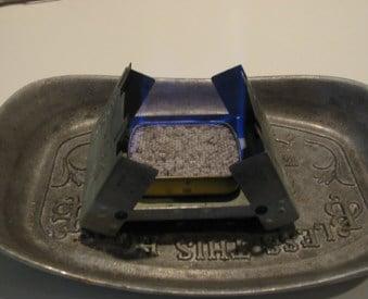 Altoids tin using for alcohol stove.