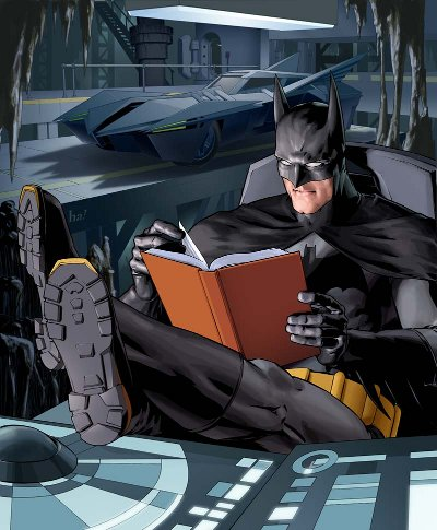 batman illustration in bat cave reading book batmobile