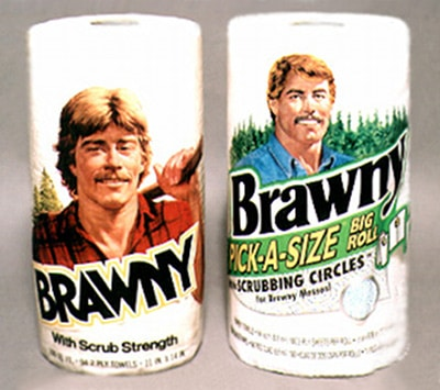brawny paper towel man with mustache manly brand