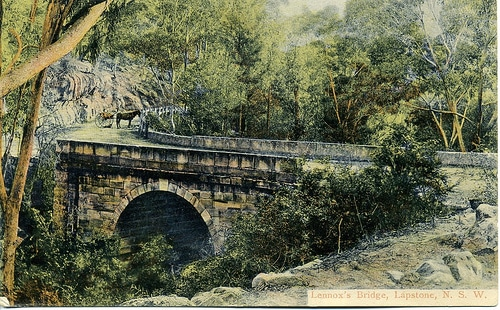 painting of lennox's bridge far off with horse nearby