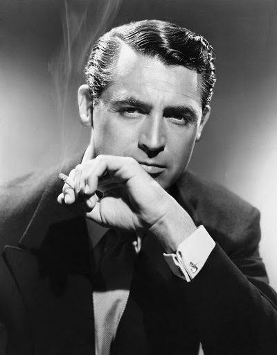 cary grant portrait smoking cigar shiny hair