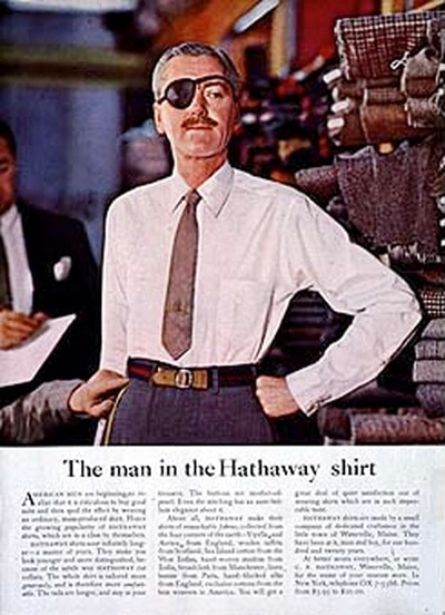 Man in the hathaway shirt manly icon with eye patch.