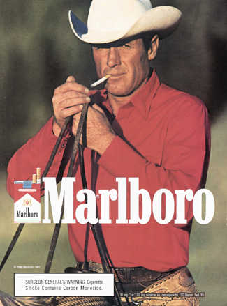 Marlboro man in red shirt vintage cigarette advertisement.