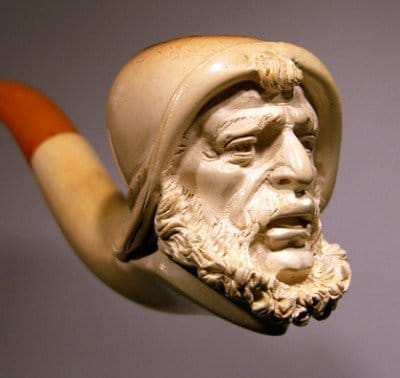 meerschaum pipe close up bowl sea captain carving